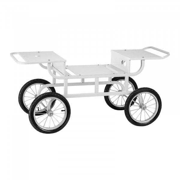 Chariot pour machine barbe à papa - 4 roues - Blanc