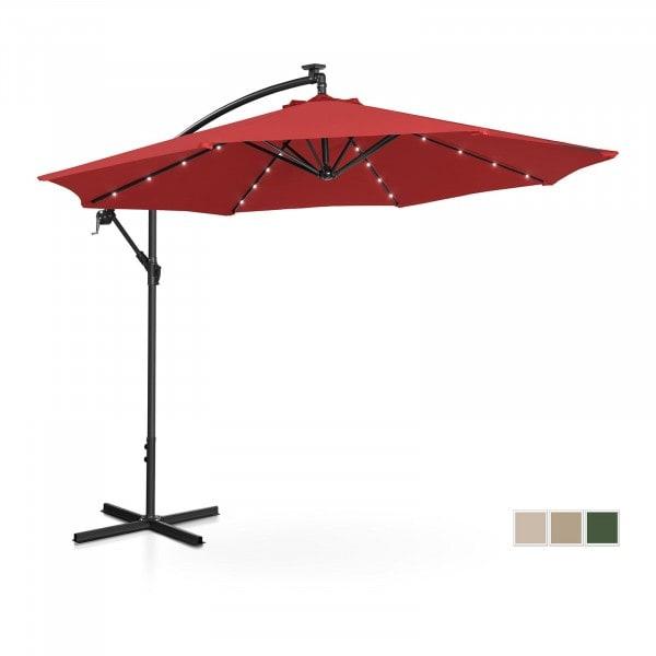 Occasion Parasol avec LED - Rouge - Rond - Ø 300 cm - Inclinable