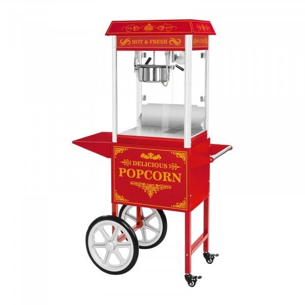 Set machine à popcorn avec chariot - Allure rétro - Rouge