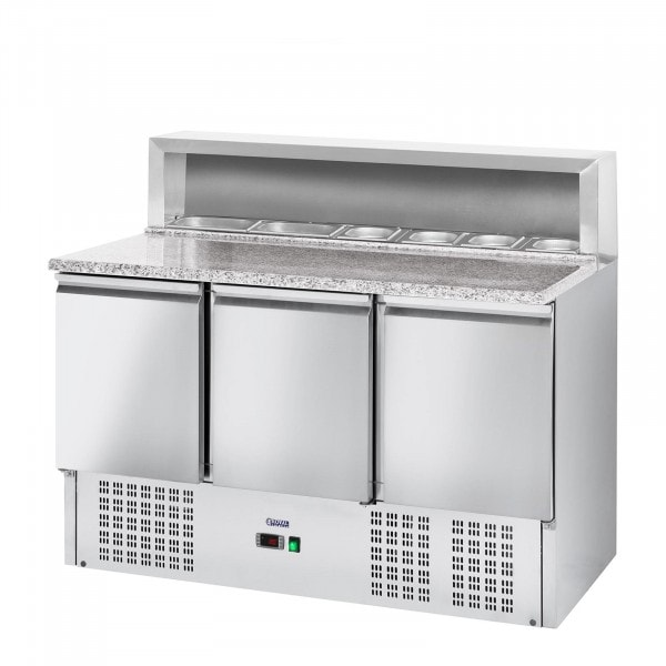 Table à pizza réfrigérée - 379 L - plan de travail en granite - 3 portes