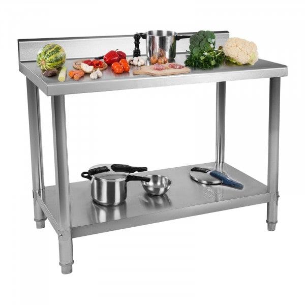 Occasion Table de travail inox avec dosseret - 120 x 160 cm - Capacité de 137 kg
