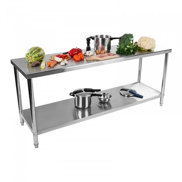 Table de travail inox - 200 x 60 cm - Capacité de charge de 160 kg