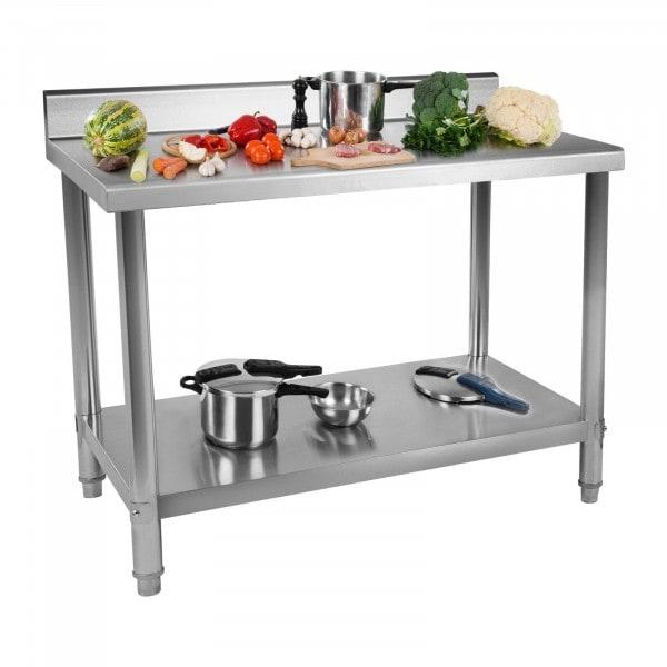 Occasion Table de travail en inox avec dosseret - 100 x 60 cm - Capacité de 114 kg