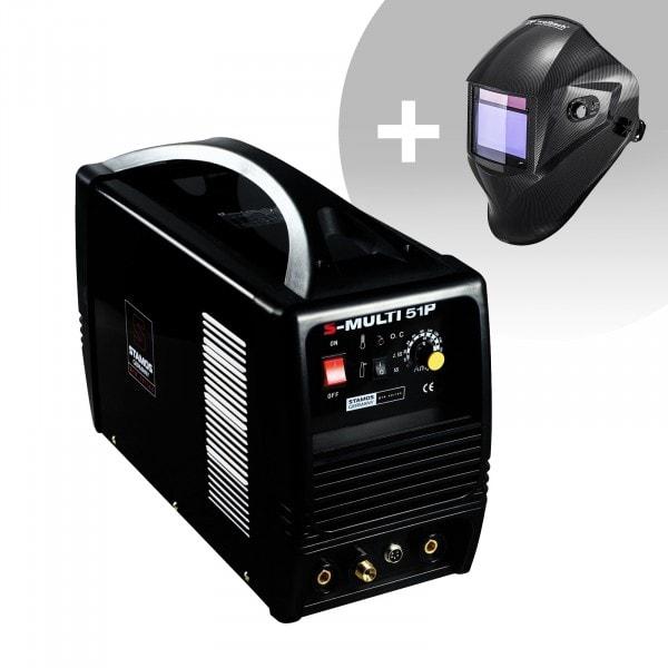 Set d'équipement de soudage Poste combiné - TIG 180A - Cut 50A - MMA - PRO + Masque de soudure – Carbonic – PROFESSIONAL SERIES