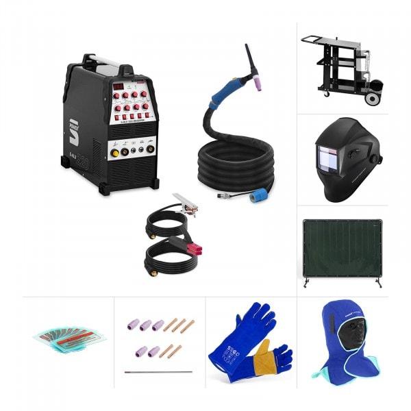 Set Poste à souder Aluminium - TIG CA/CC - Chariot à souder - Vêtements de protection - Accessoires