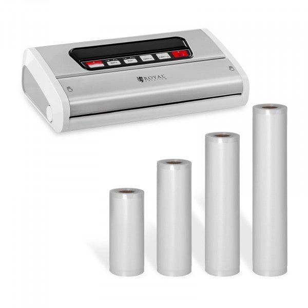 Kit machine sous vide avec 4 rouleaux d'emballages sous vide - 15 à 30 cm - Acier inoxydable/ABS - 32 cm