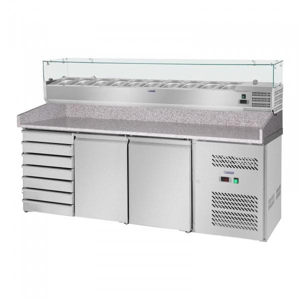 Occasion Table à pizza réfrigérée avec vitrine réfrigérée - 702 L - Surface de travail en granit - 2 portes