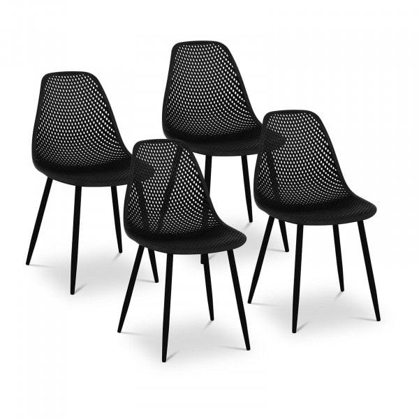 Occasion Chaise - Lot de 4 - 150 kg max. - Surface d'assise de 52 x 46,5 cm - Coloris noir