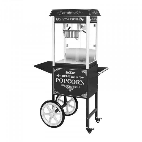 Set machine à popcorn avec chariot - Allure rétro - Noire