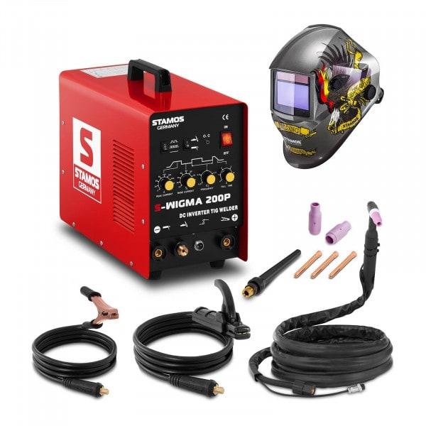 Set d'équipement de soudage Poste à souder TIG - 200A - 230V - Puls + Masque de soudure – Eagle Eye – ADVANCED SERIES