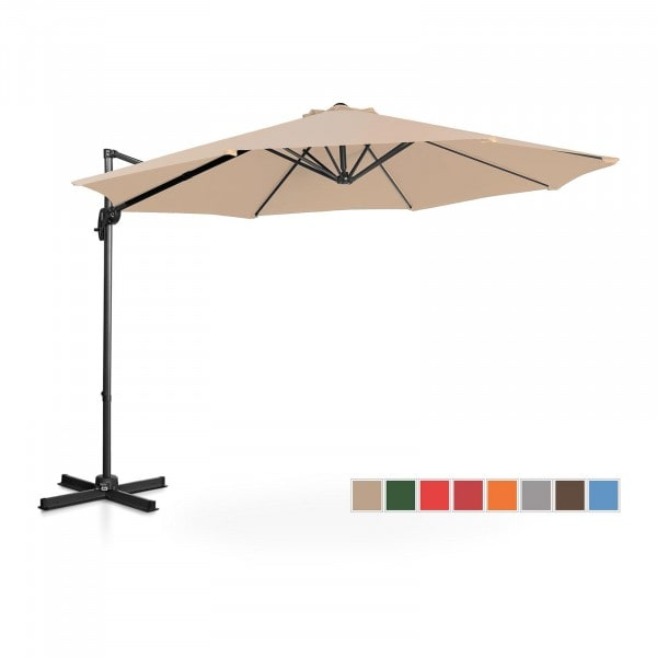 Occasion Parasol de jardin - crème - rond - Ø 300 cm - pivotant