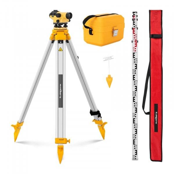Occasion Niveau de chantier avec trépied et mire - Grossissement 28x - Objectif 36 mm - Écart 1,5 mm - Compensateur à amortissement magnétique
