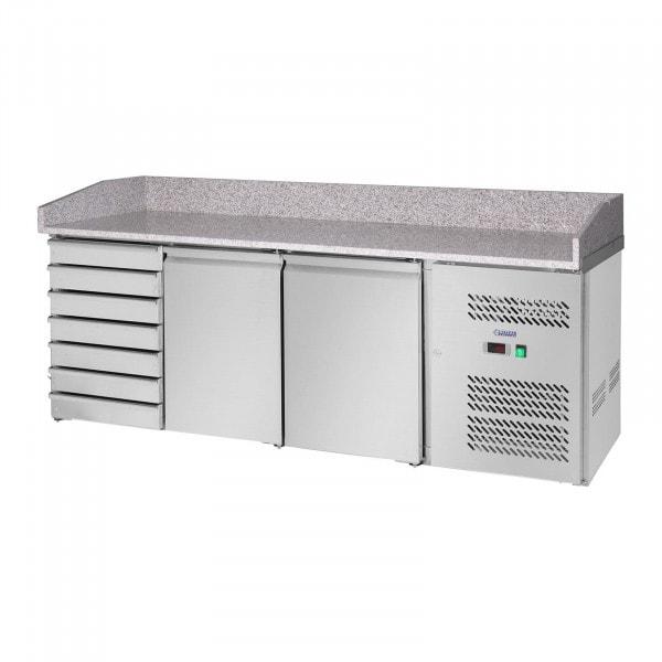 Table réfrigérée - 580 L - surface de travail en granit - 2 portes