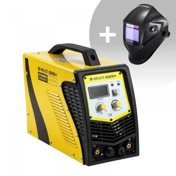 Set d'équipement de soudage Poste combiné - TIG 180A - Cut 40A - E-Hand + Masque de soudure – Carbonic – PROFESSIONAL SERIES