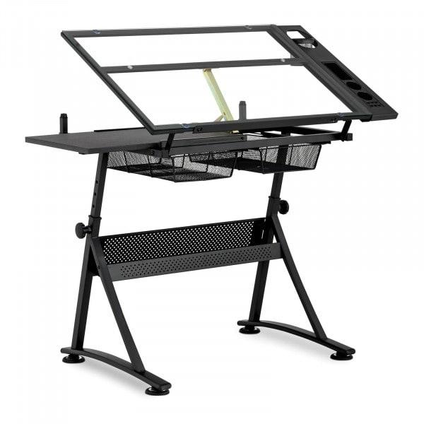 Occasion Table à dessin inclinable - 120 x 60 x 90 cm - Plateau en verre