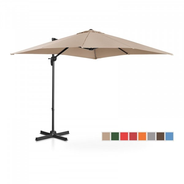Occasion Parasol de jardin - Crème - Carré - 250 x 250 cm - Pivotant